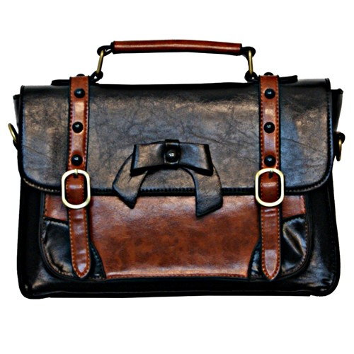 Buckle With Bow Retro Handbag- Black