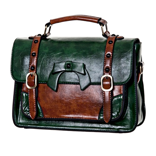 Buckle With Bow Retro Handbag- Green