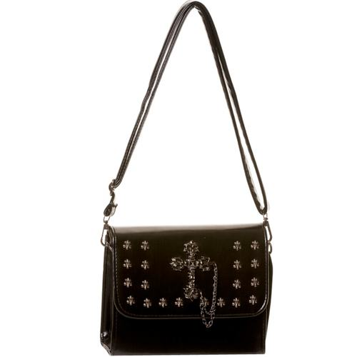 Black cross and fleur de lys bag