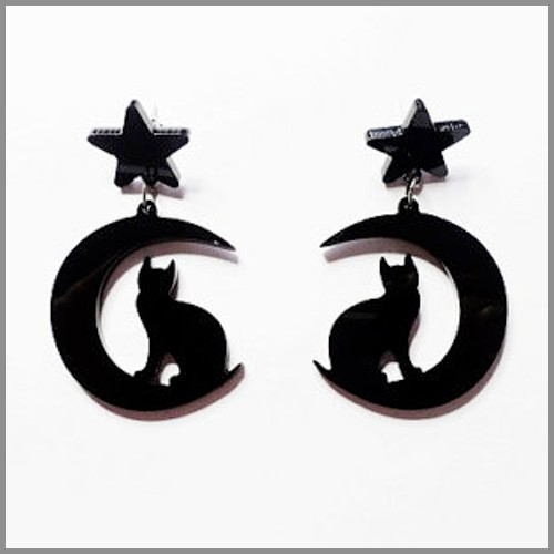 Moon Gazing Cat Earrings