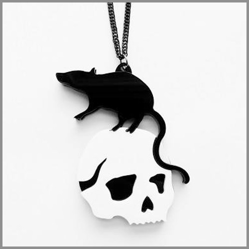 Rat on human skull necklace
