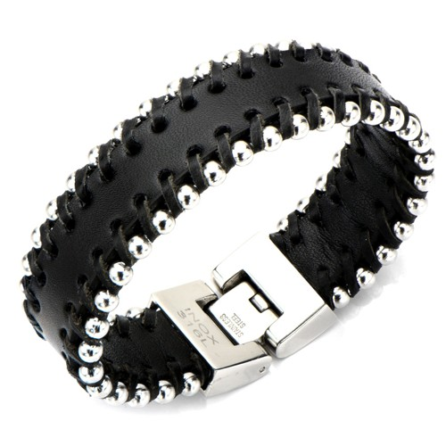 Black Leather Bracelet with Steel Ball Sides