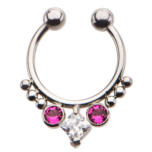 Faux Septum with pink CZ