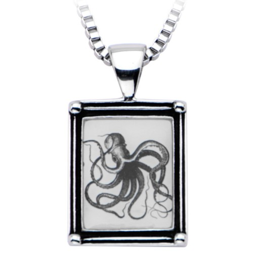 Octopus Vintage frame necklace