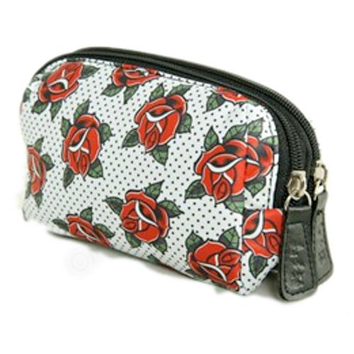 Double Zipped make up bag - Roses