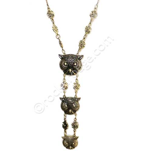 Triple Owl Totem necklace