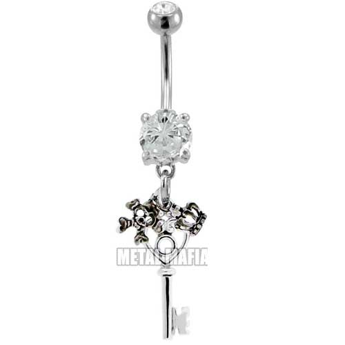 Skeleton key with skull and crown Belly bar