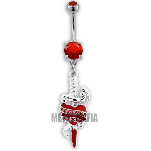 Dagger and heart tattoo belly bar