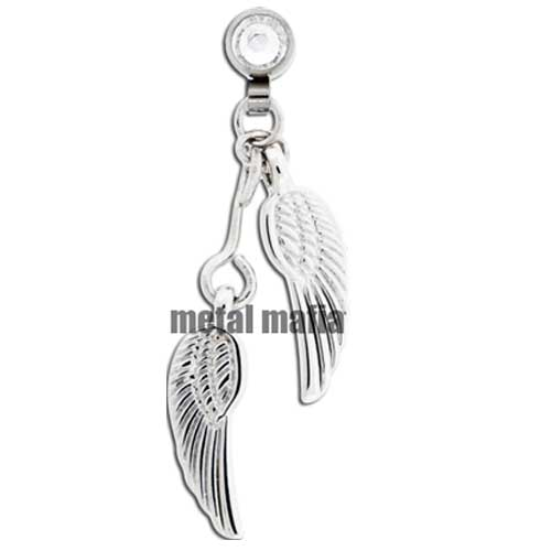 Two angel wings microdermal dangle
