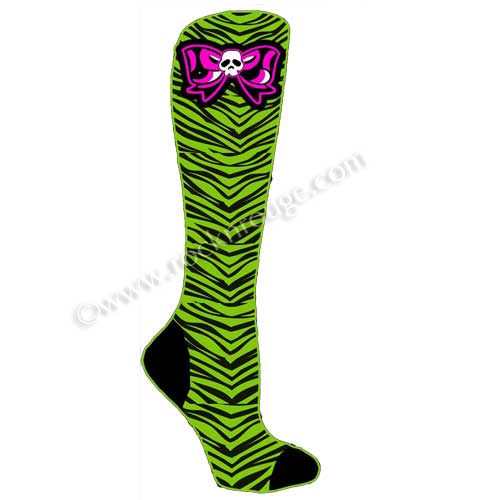 Green Zebra with Pink skull bows socks