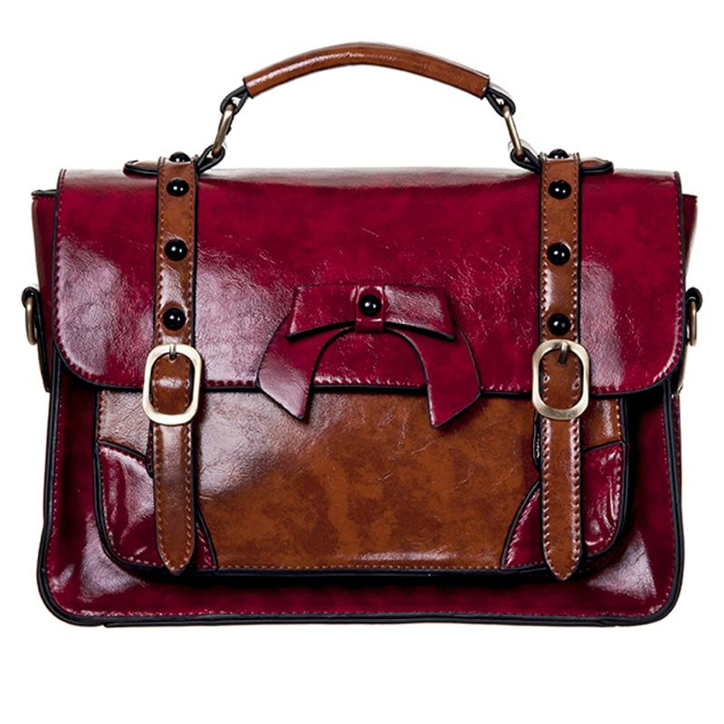 Buckle With Bow Retro Handbag- Red