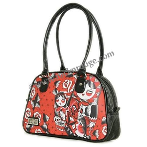 bowling bag by Liquor Brand, in red with a neo Trad style matryoshka