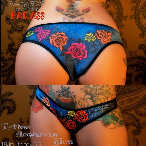 Blue Flower Tattoo pants